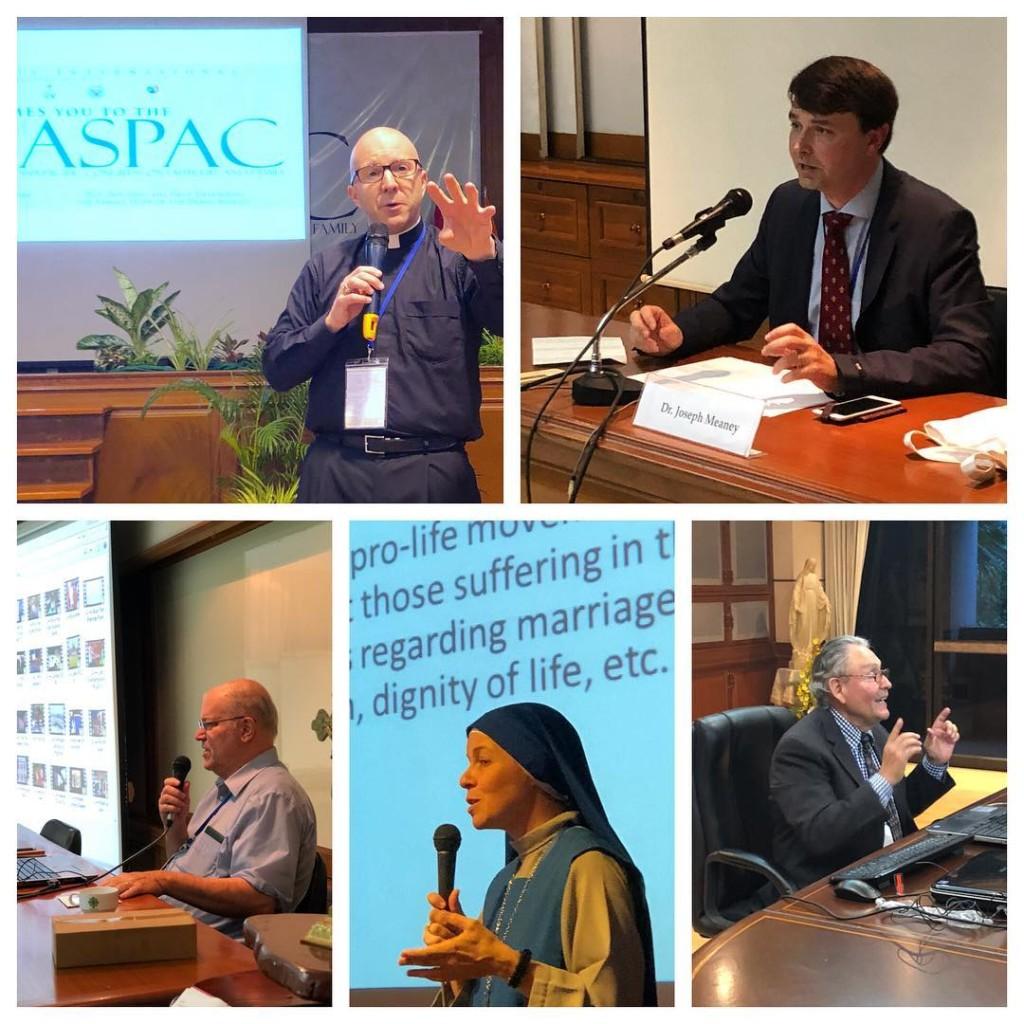 Don Shenan Boquet, Dr. Joseph Meaney, Dr. Brian Clowes, Madre Compassionis, SSVM e Mario Rojas hanno tenuto le loro presentazioni il primo giorno del Congresso HLI Asia Pacifico sulla vita e la famiglia della fede (ASPAC) a Bangkok, in Tailandia.