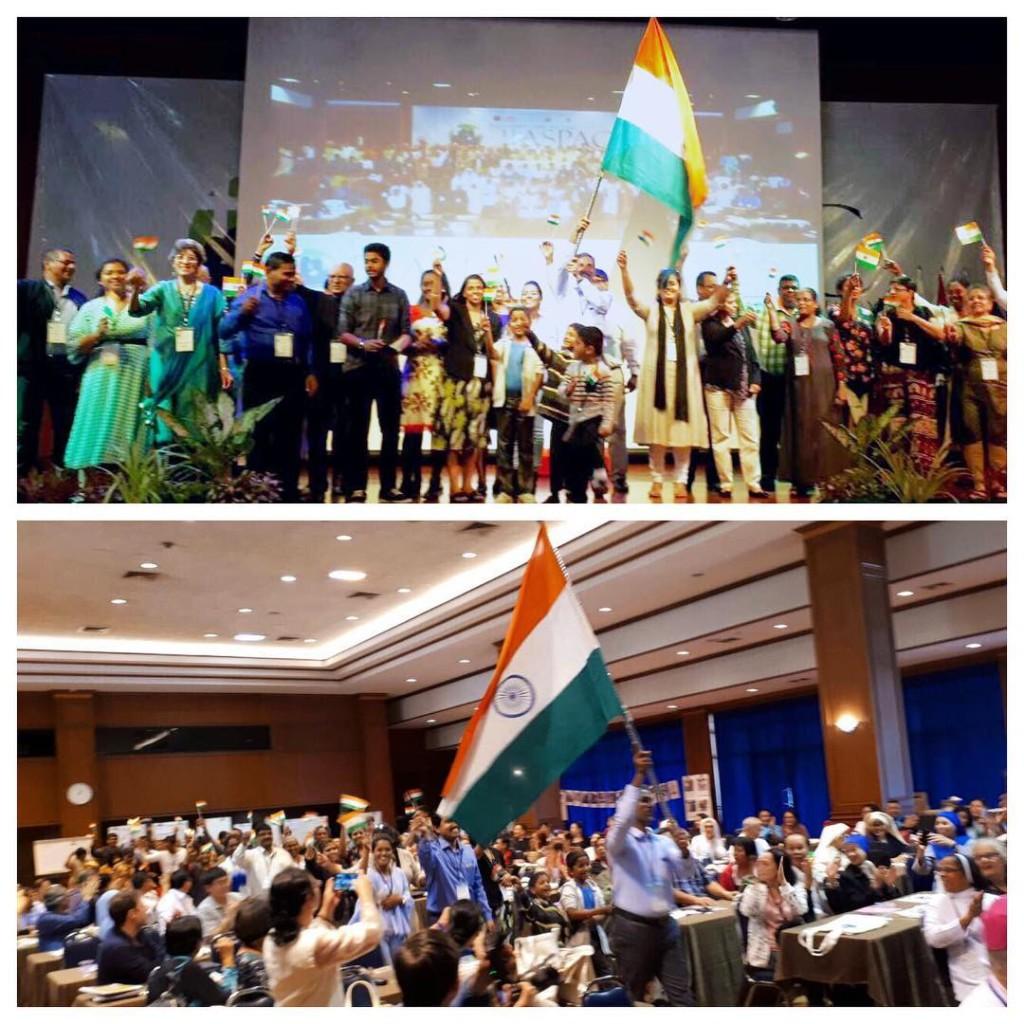 La gioia dei delegati provenienti dall'India all'annuncio del prossimo Congresso che si svolgerà in Kerala
