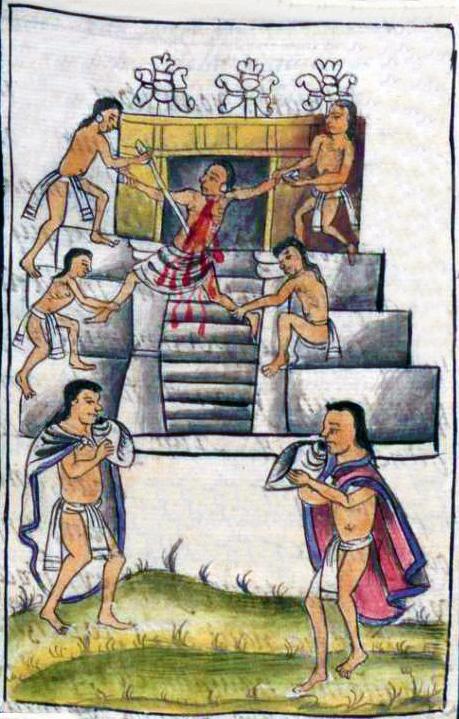 Immagine del XVI secolo, sacrificio azteco