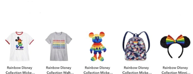 """La Disney è una delle tante aziende che promuovono l'""""orgoglio omosessuale"""" con la sua collezione """"arcobaleno""""."""